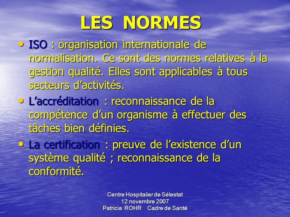 Centre Hospitalier de Sélestat 12 novembre 2007 Patricia ROHR Cadre de Santé Référentiels Ensemble des exigences qui sappliquent à une activité. Norme