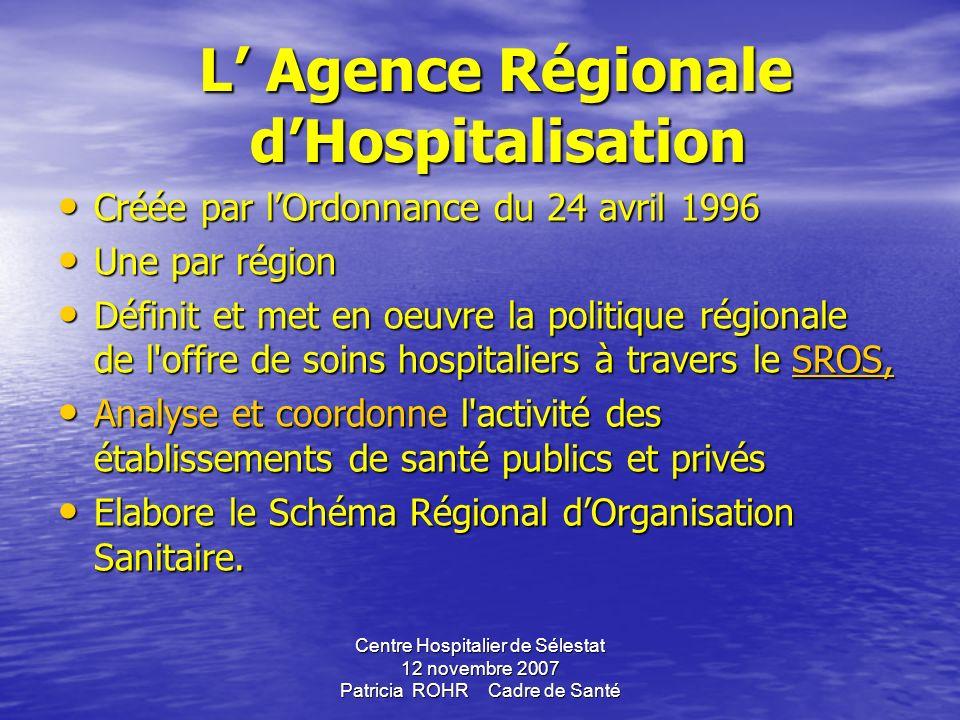 Centre Hospitalier de Sélestat 12 novembre 2007 Patricia ROHR Cadre de Santé ENVIRONNEMENT DE LHOPITAL Gouvernement propose des Lois Gouvernement prop