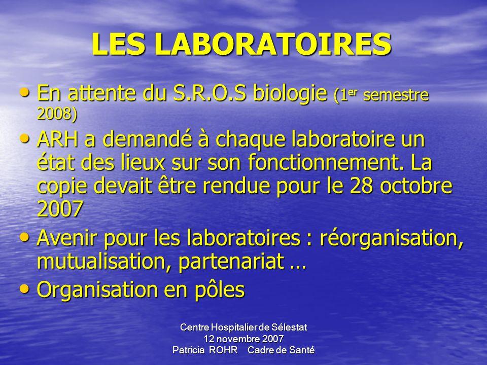 Centre Hospitalier de Sélestat 12 novembre 2007 Patricia ROHR Cadre de Santé LES LABORATOIRES LES LABORATOIRES En attente du S.R.O.S biologie (1er semestre 2008) ARH a demandé à chaque laboratoire un état des lieux sur son fonctionnement.
