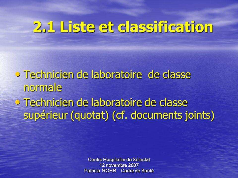 2.1 Liste et classification Technicien de laboratoire de classe normale Technicien de laboratoire de classe supérieur (quotat) (cf.