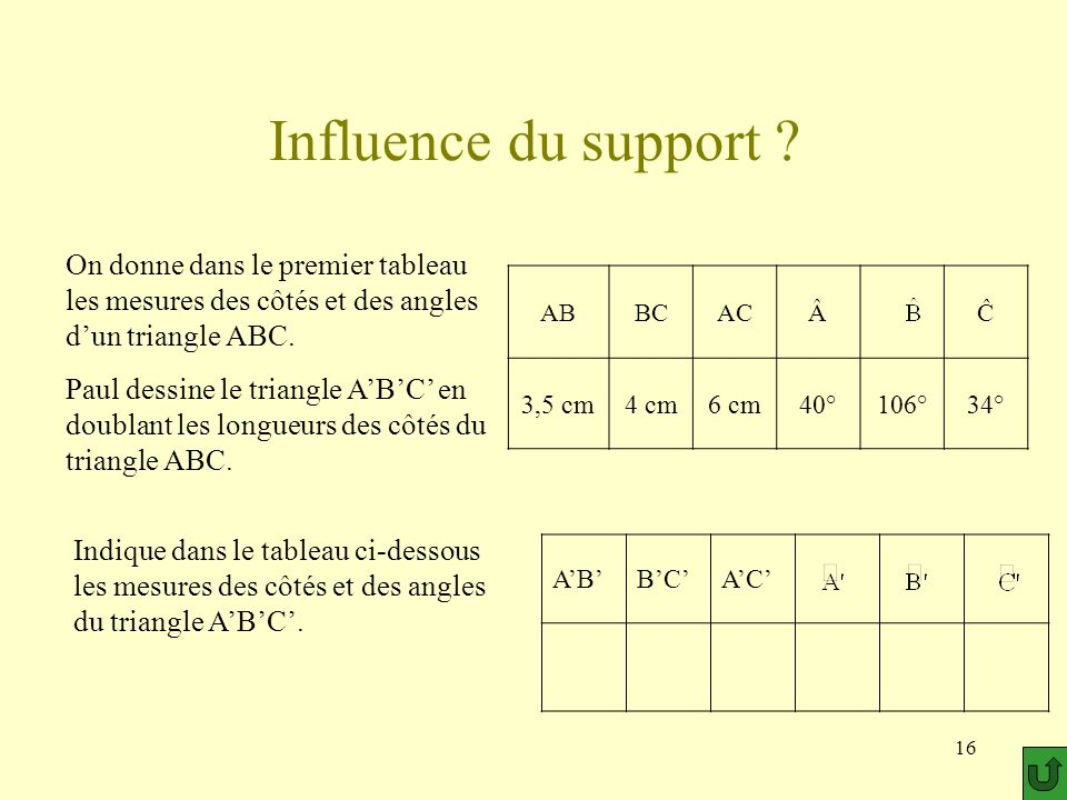 16 Influence du support ? ABBCAC On donne dans le premier tableau les mesures des côtés et des angles dun triangle ABC. Paul dessine le triangle ABC e