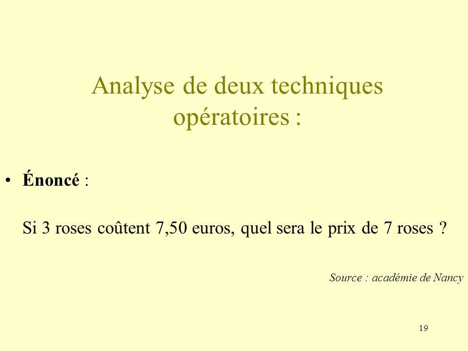 19 Analyse de deux techniques opératoires : Énoncé : Si 3 roses coûtent 7,50 euros, quel sera le prix de 7 roses .