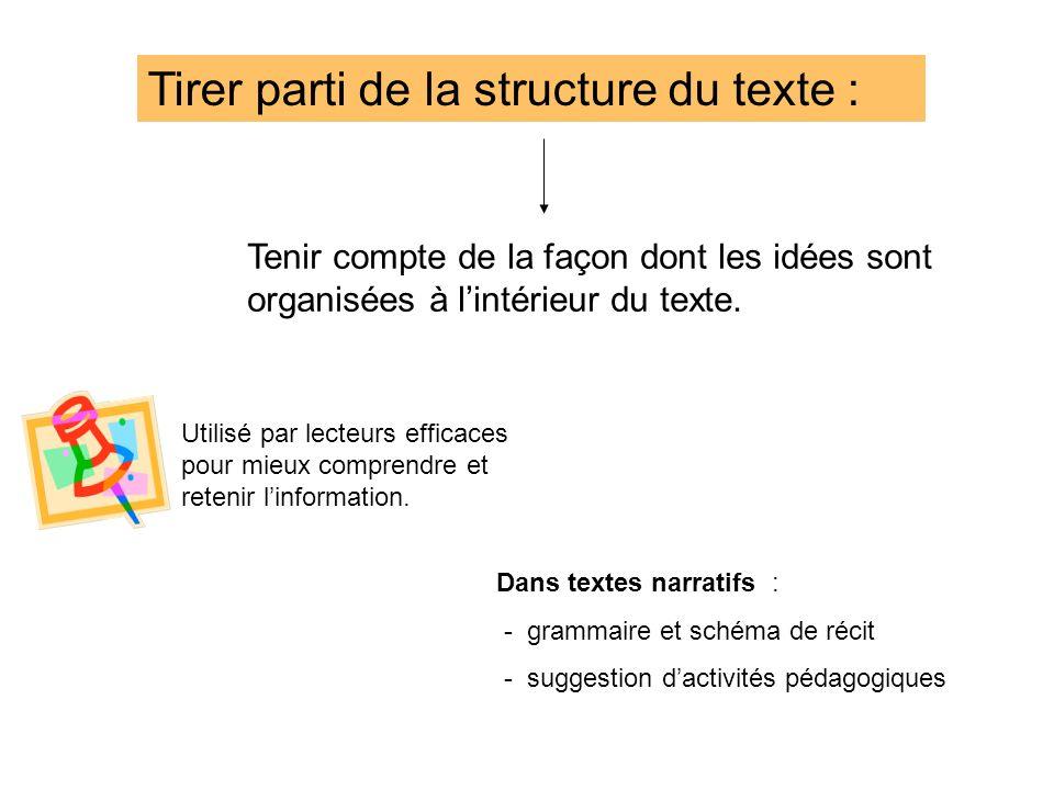 Tirer parti de la structure du texte : Tenir compte de la façon dont les idées sont organisées à lintérieur du texte. Dans textes narratifs : - gramma