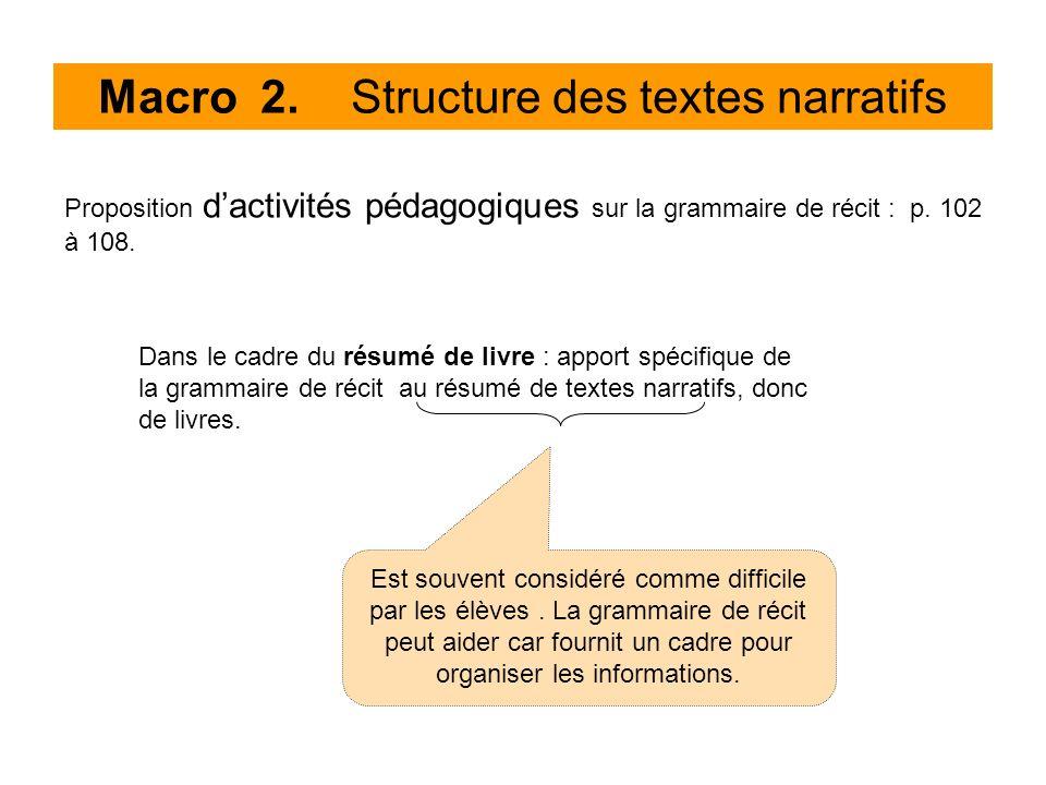 Macro 2. Structure des textes narratifs Proposition dactivités pédagogiques sur la grammaire de récit : p. 102 à 108. Dans le cadre du résumé de livre