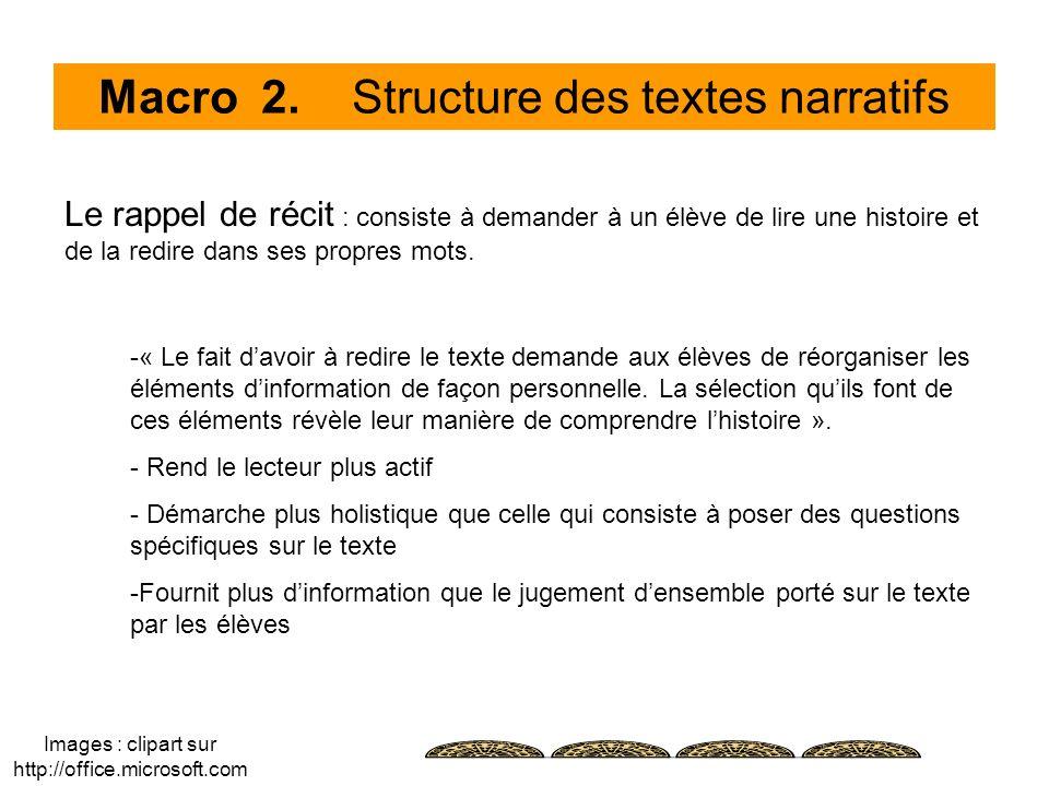 Macro 2. Structure des textes narratifs Le rappel de récit : consiste à demander à un élève de lire une histoire et de la redire dans ses propres mots