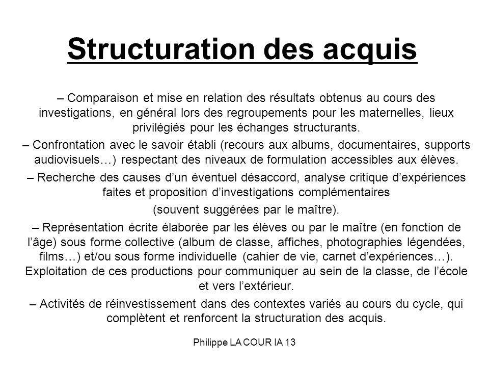 Structuration des acquis – Comparaison et mise en relation des résultats obtenus au cours des investigations, en général lors des regroupements pour l