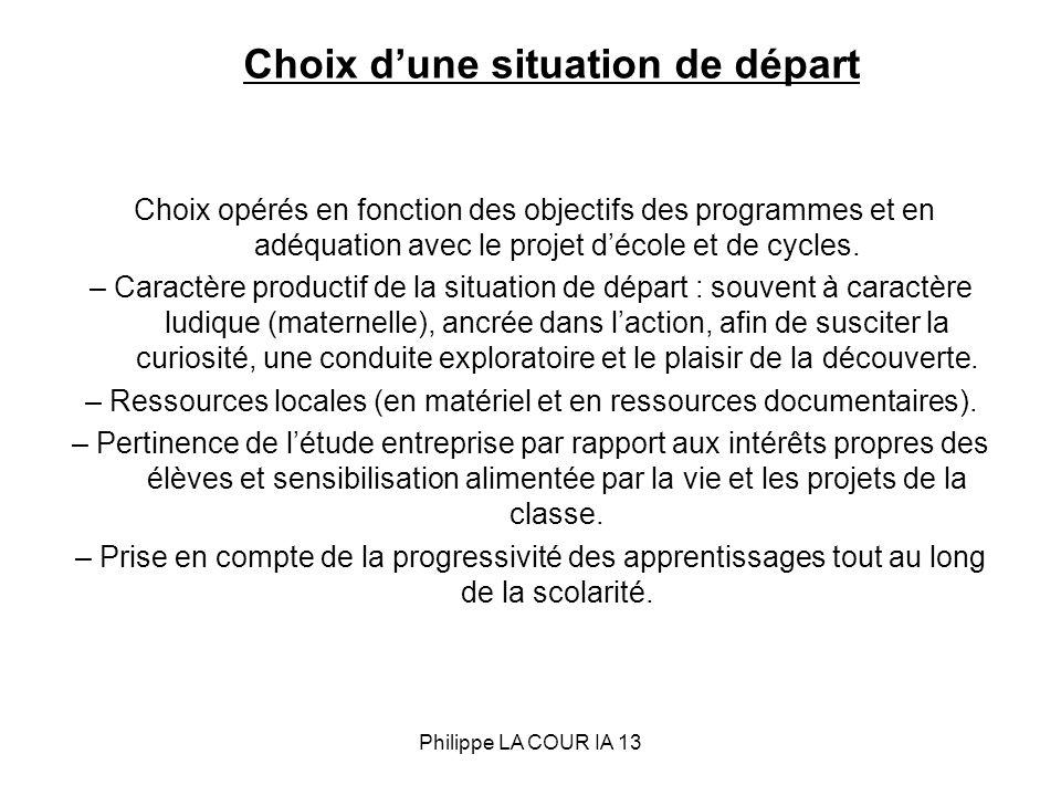 Choix dune situation de départ Choix opérés en fonction des objectifs des programmes et en adéquation avec le projet décole et de cycles. – Caractère