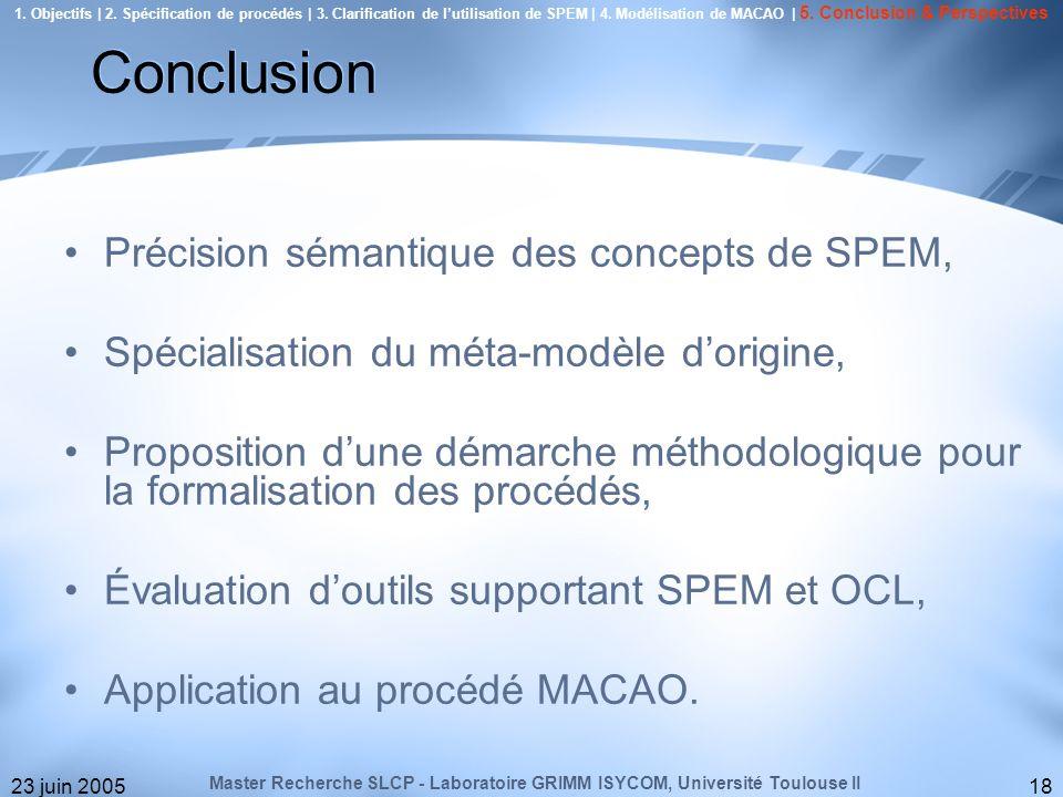 23 juin 200518 Précision sémantique des concepts de SPEM, Spécialisation du méta-modèle dorigine, Proposition dune démarche méthodologique pour la for