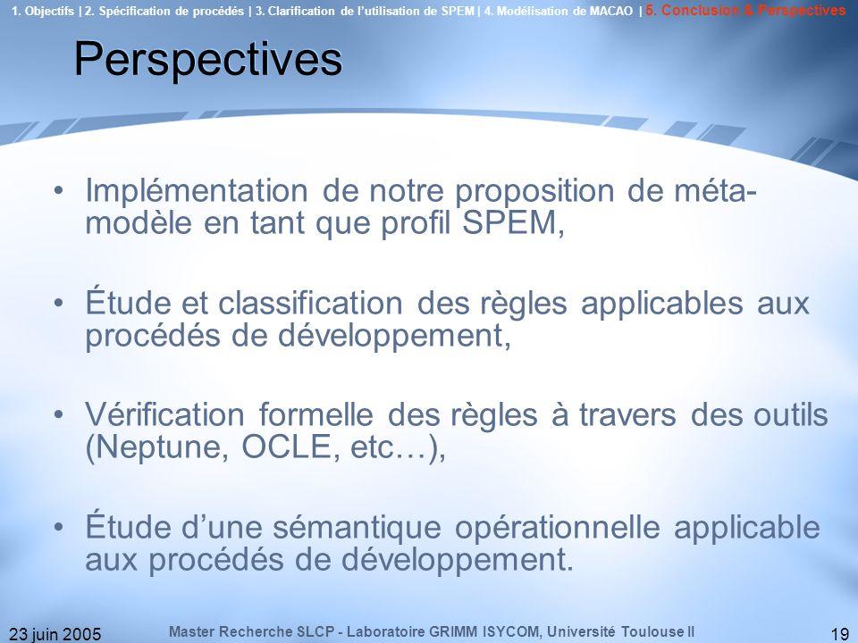 23 juin 200519 Implémentation de notre proposition de méta- modèle en tant que profil SPEM, Étude et classification des règles applicables aux procédé