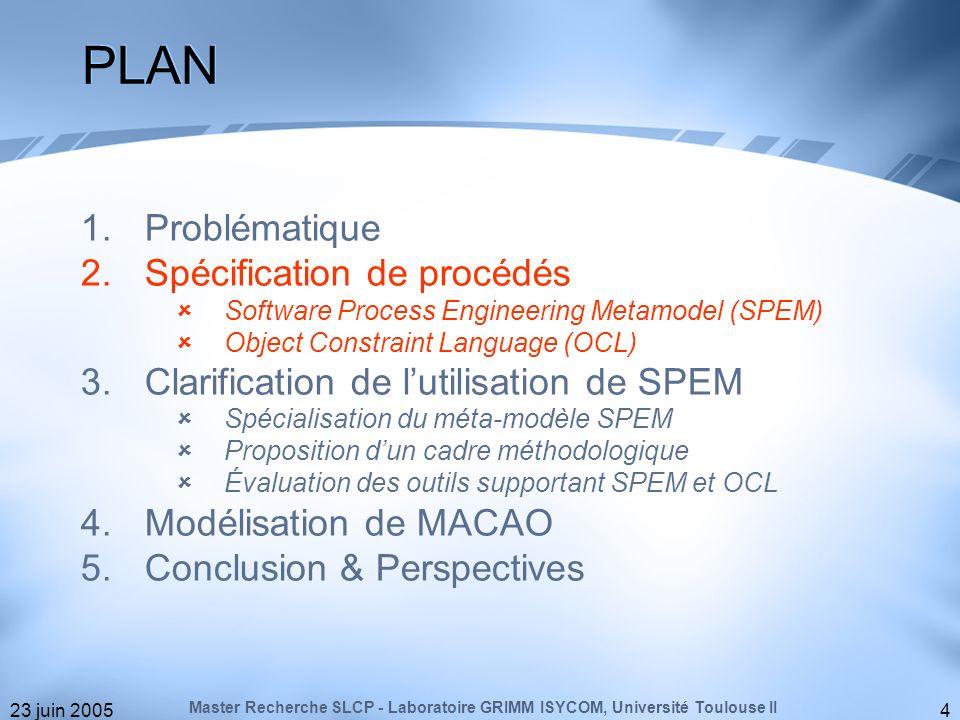 23 juin 20055 Langage de modélisation semi-formel pour les procédés de développement (OMG) : Version courante: 1.1 formal/05-01-06 Vers une version 2.0: RFP ad/04-11-04 Concept de base : Constat sur lutilisation de SPEM : Sémantique partiellement formalisée, Pas de directive sur la structuration dun procédé, Possibilité dengendrer des modèles incohérents.
