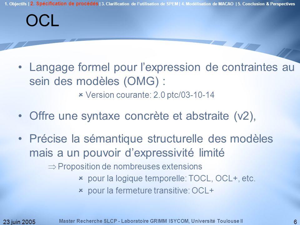 23 juin 20056 OCL Langage formel pour lexpression de contraintes au sein des modèles (OMG) : Version courante: 2.0 ptc/03-10-14 Offre une syntaxe conc