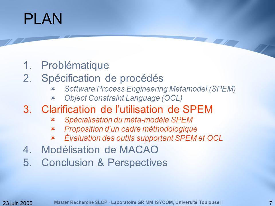 23 juin 200518 Précision sémantique des concepts de SPEM, Spécialisation du méta-modèle dorigine, Proposition dune démarche méthodologique pour la formalisation des procédés, Évaluation doutils supportant SPEM et OCL, Application au procédé MACAO.
