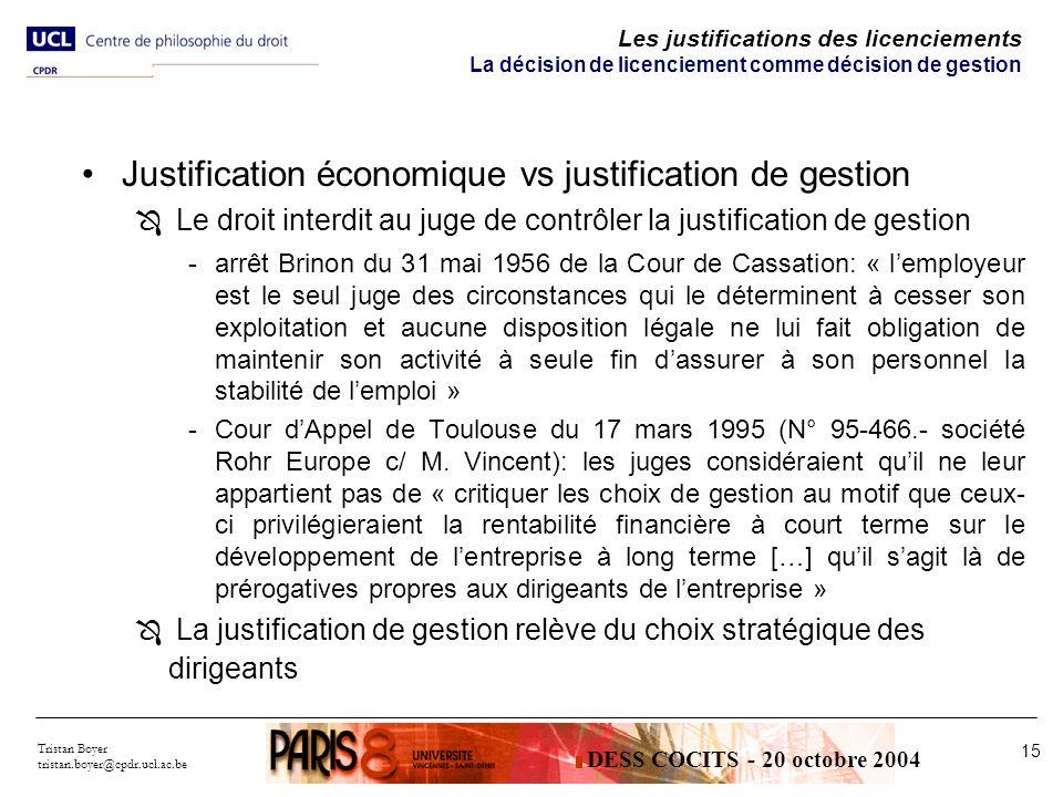 Tristan Boyer tristan.boyer@cpdr.ucl.ac.be 15 Les justifications des licenciements La décision de licenciement comme décision de gestion Justification