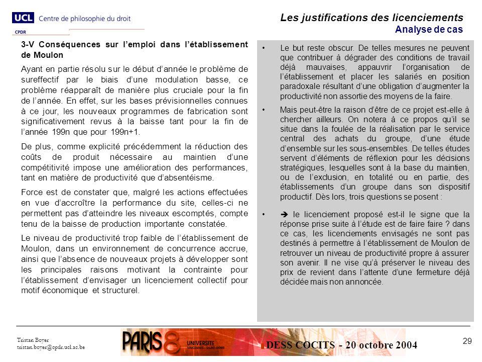 Tristan Boyer tristan.boyer@cpdr.ucl.ac.be 29 Les justifications des licenciements Analyse de cas Le but reste obscur.