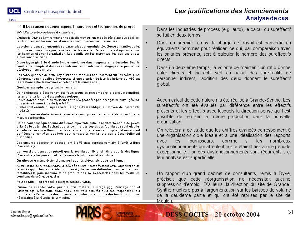 Tristan Boyer tristan.boyer@cpdr.ucl.ac.be 31 Les justifications des licenciements Analyse de cas Dans les industries de process (e.g.