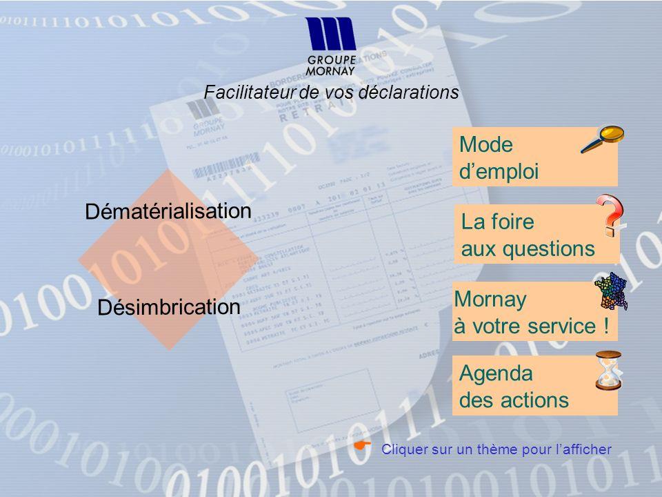 Dématérialisation Désimbrication Facilitateur de vos déclarations Mode demploi La foire aux questions Mornay à votre service ! Agenda des actions Cliq
