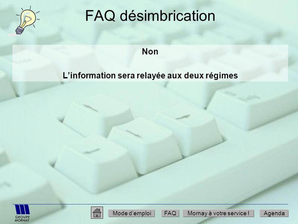 FAQ désimbrication Non Linformation sera relayée aux deux régimes Mode demploiFAQMornay à votre service !Agenda