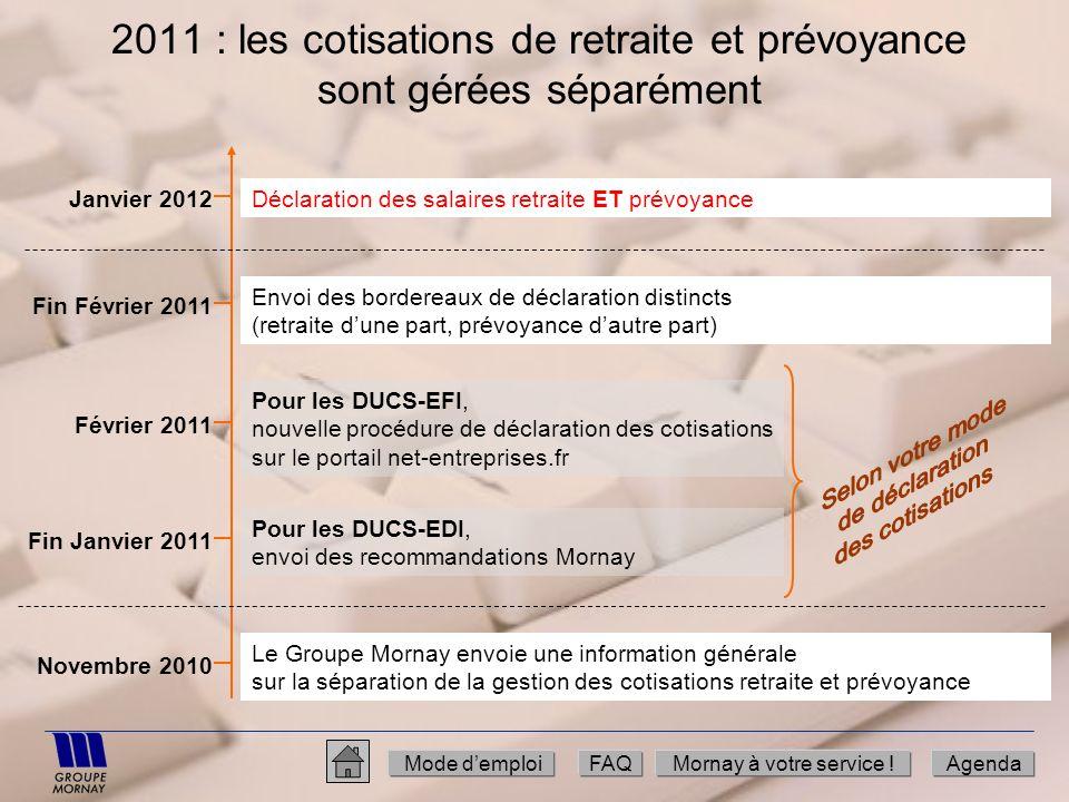 2011 : les cotisations de retraite et prévoyance sont gérées séparément Mode demploiFAQMornay à votre service !Agenda Novembre 2010 Le Groupe Mornay e