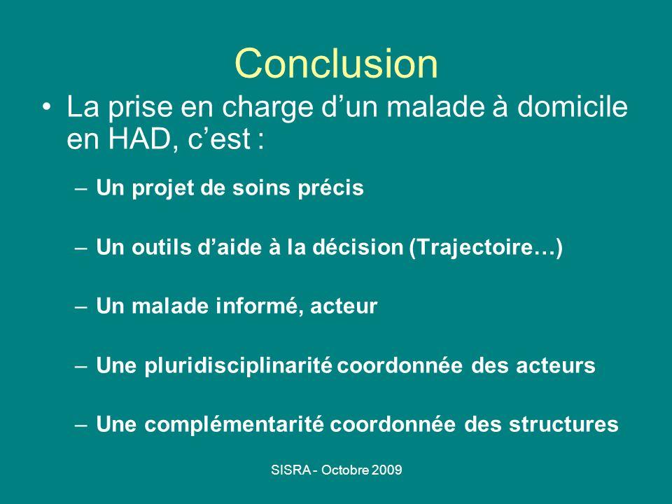 SISRA - Octobre 2009 Conclusion La prise en charge dun malade à domicile en HAD, cest : –Un projet de soins précis –Un outils daide à la décision (Tra