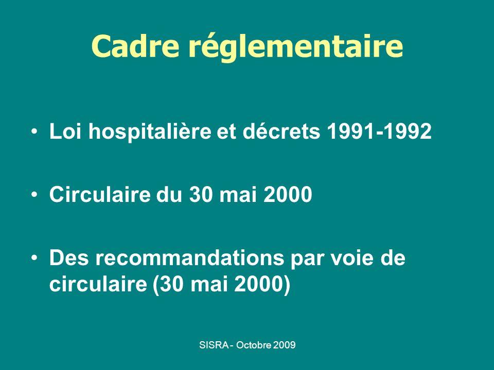 SISRA - Octobre 2009 Cadre réglementaire Loi hospitalière et décrets 1991-1992 Circulaire du 30 mai 2000 Des recommandations par voie de circulaire (3