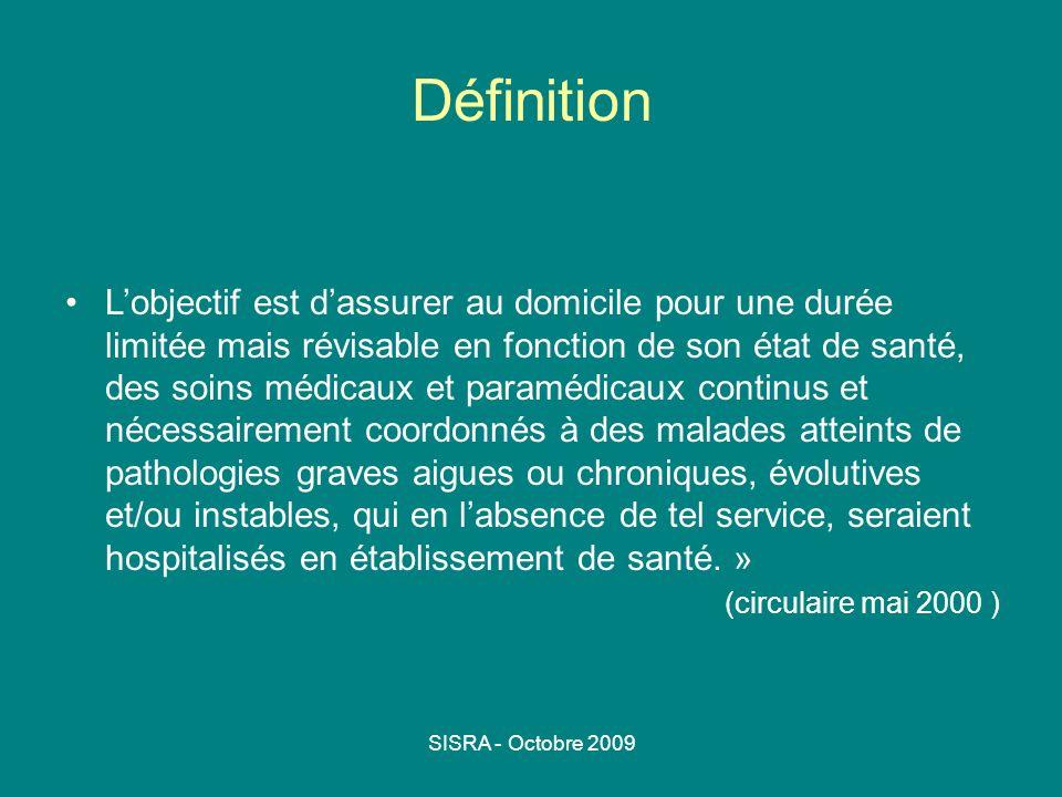 SISRA - Octobre 2009 Définition Lobjectif est dassurer au domicile pour une durée limitée mais révisable en fonction de son état de santé, des soins m