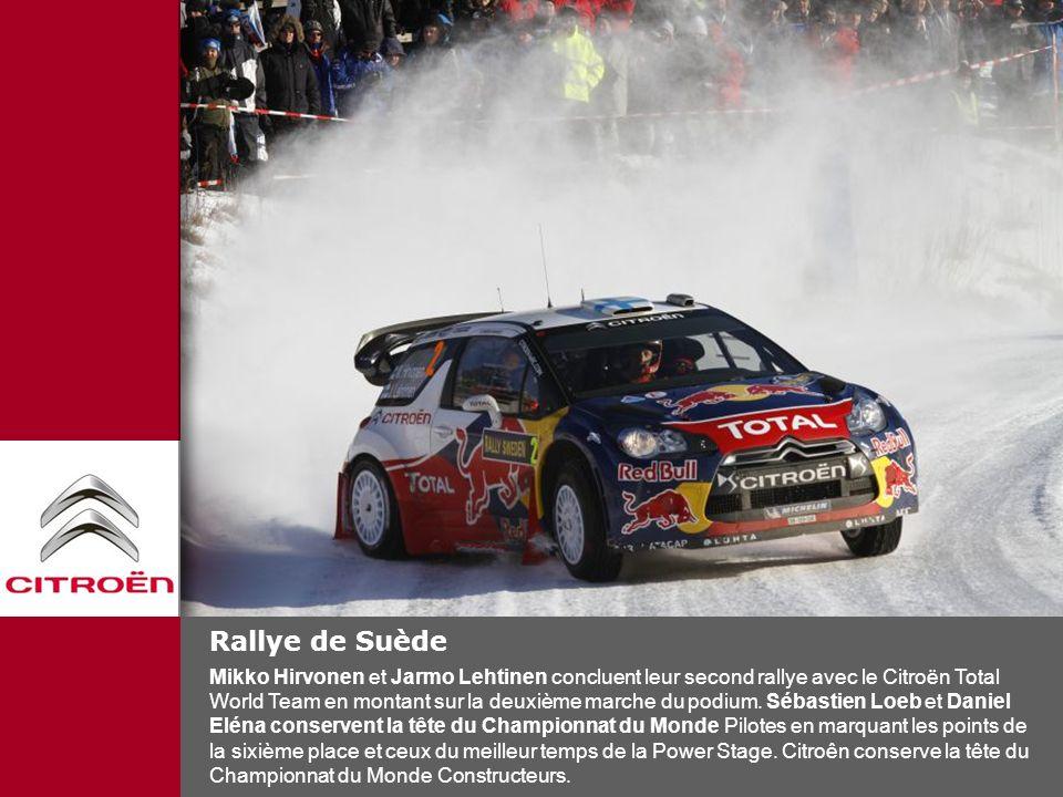 Rallye de Suède Mikko Hirvonen et Jarmo Lehtinen concluent leur second rallye avec le Citroën Total World Team en montant sur la deuxième marche du po