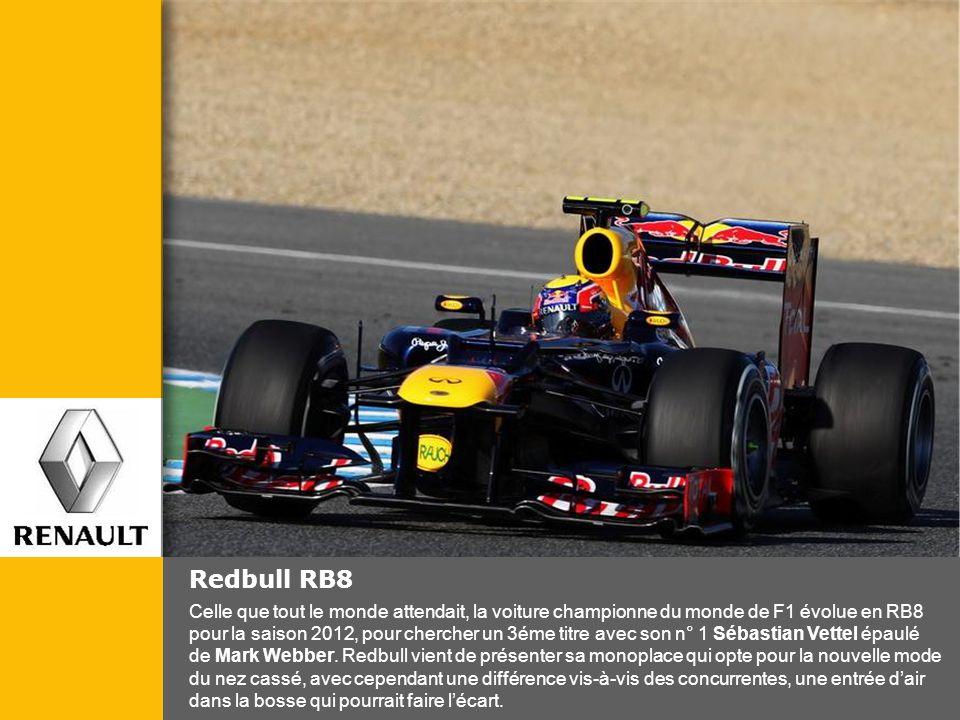Redbull RB8 Celle que tout le monde attendait, la voiture championne du monde de F1 évolue en RB8 pour la saison 2012, pour chercher un 3éme titre ave