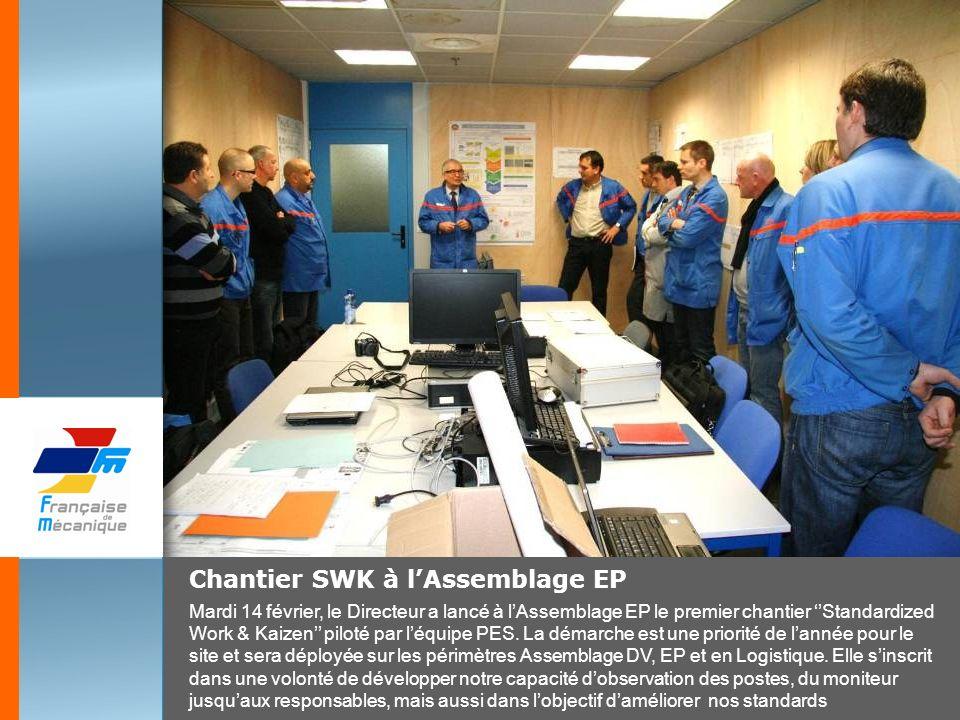 Chantier SWK à lAssemblage EP Mardi 14 février, le Directeur a lancé à lAssemblage EP le premier chantier Standardized Work & Kaizen piloté par léquip