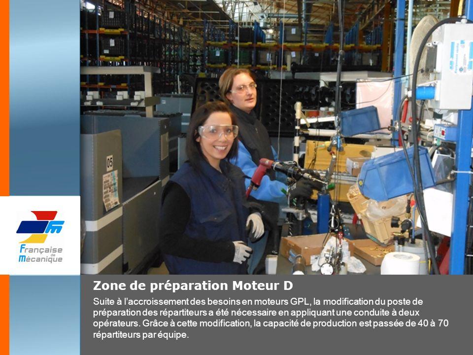 Zone de préparation Moteur D Suite à laccroissement des besoins en moteurs GPL, la modification du poste de préparation des répartiteurs a été nécessa