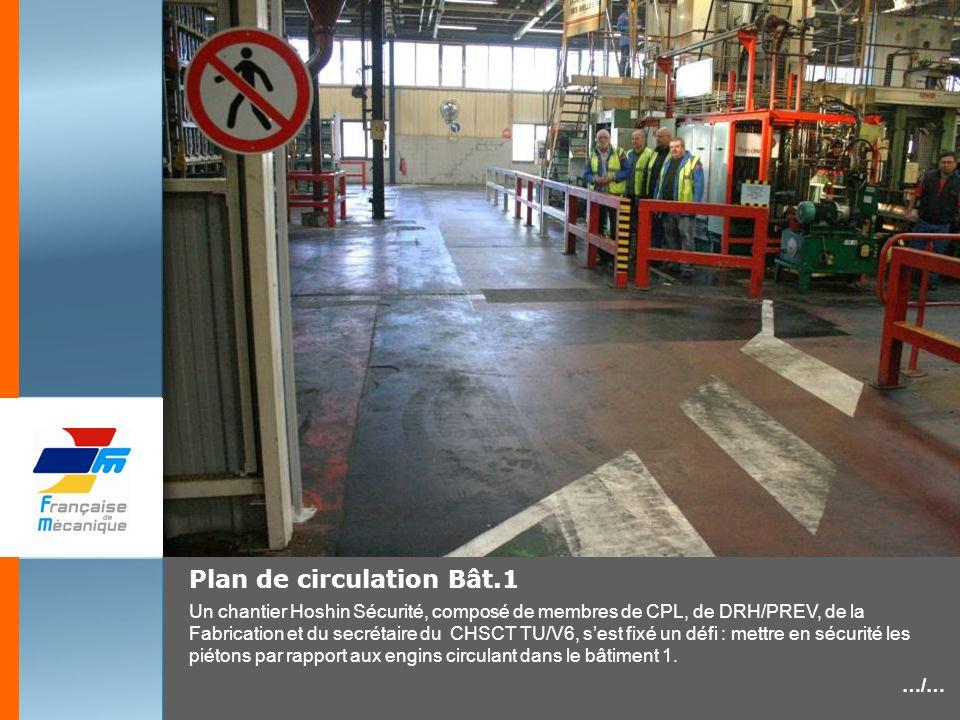 Plan de circulation Bât.1 Un chantier Hoshin Sécurité, composé de membres de CPL, de DRH/PREV, de la Fabrication et du secrétaire du CHSCT TU/V6, sest