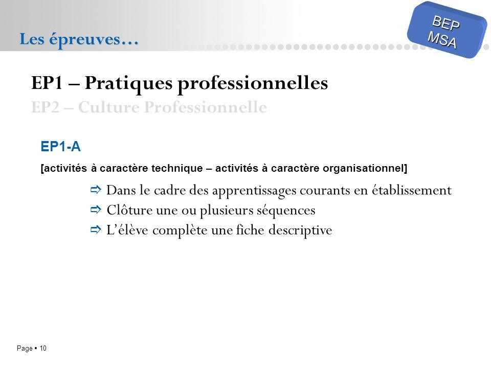 Page 10 BEPMSA Les épreuves… EP1 – Pratiques professionnelles EP2 – Culture Professionnelle EP1-A [activités à caractère technique – activités à caractère organisationnel] Dans le cadre des apprentissages courants en établissement Clôture une ou plusieurs séquences Lélève complète une fiche descriptive