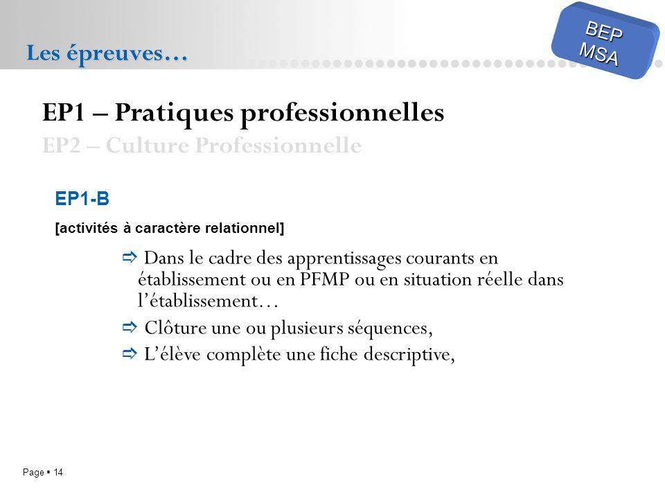 Page 14 BEPMSA Les épreuves… EP1 – Pratiques professionnelles EP2 – Culture Professionnelle EP1-B [activités à caractère relationnel] Dans le cadre de