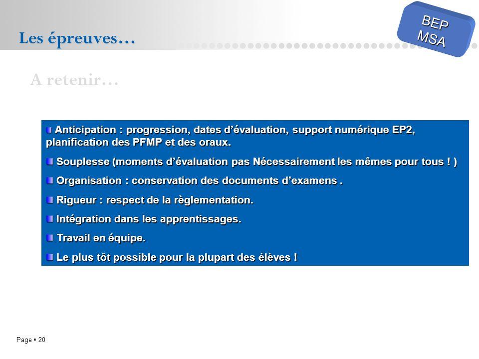 Page 20 BEPMSA Les épreuves… A retenir… Anticipation : progression, dates dévaluation, support numérique EP2, planification des PFMP et des oraux. Ant