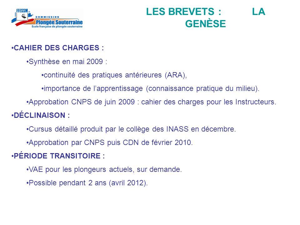 LES BREVETS : LA GENÈSE CAHIER DES CHARGES : Synthèse en mai 2009 : continuité des pratiques antérieures (ARA), importance de lapprentissage (connaiss