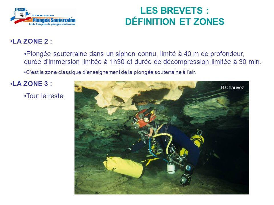 LES BREVETS : DÉFINITION ET ZONES LA ZONE 2 : Plongée souterraine dans un siphon connu, limité à 40 m de profondeur, durée dimmersion limitée à 1h30 e