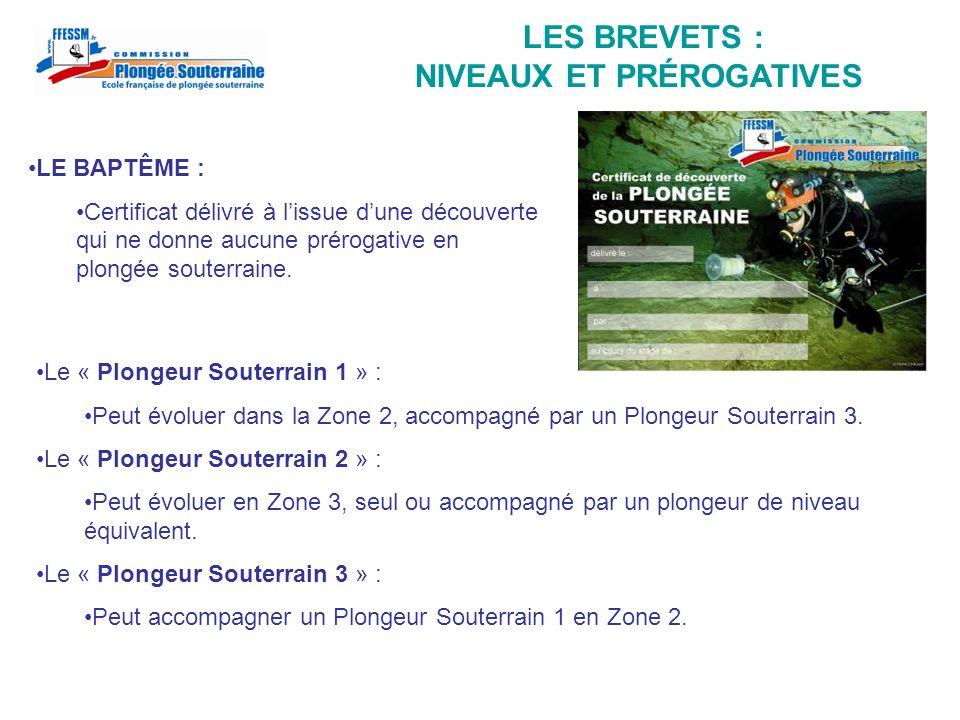 LES BREVETS : NIVEAUX ET PRÉROGATIVES Le « Plongeur Souterrain 1 » : Peut évoluer dans la Zone 2, accompagné par un Plongeur Souterrain 3. Le « Plonge