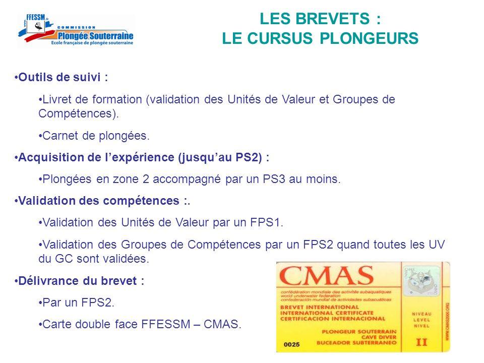 LES BREVETS : LE CURSUS PLONGEURS Outils de suivi : Livret de formation (validation des Unités de Valeur et Groupes de Compétences). Carnet de plongée