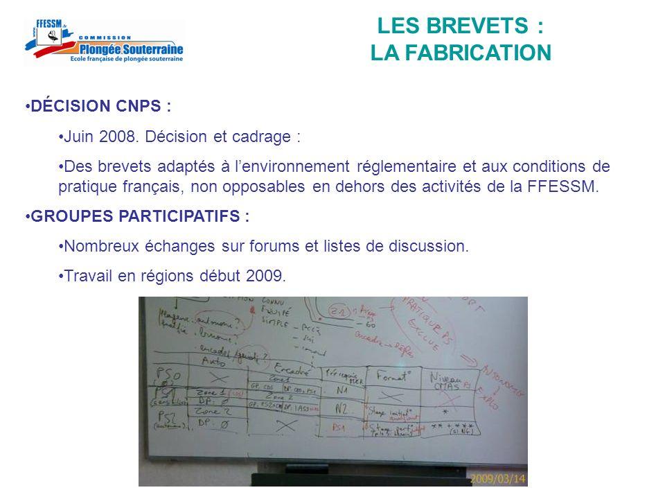 LES BREVETS : LA GENÈSE CAHIER DES CHARGES : Synthèse en mai 2009 : continuité des pratiques antérieures (ARA), importance de lapprentissage (connaissance pratique du milieu).