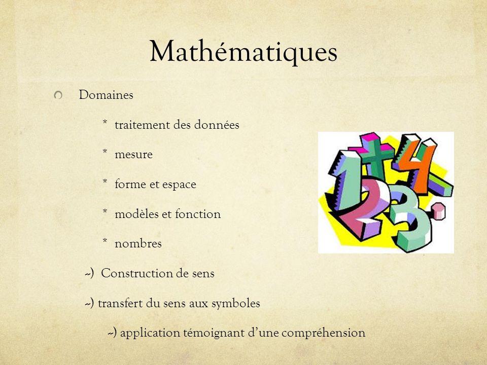 Mathématiques Domaines * traitement des données * mesure * forme et espace * modèles et fonction * nombres --) Construction de sens --) transfert du sens aux symboles --) application témoignant dune compréhension