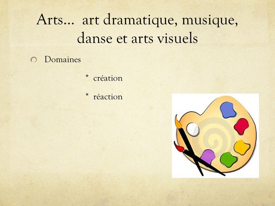 Arts… art dramatique, musique, danse et arts visuels Domaines * création * réaction