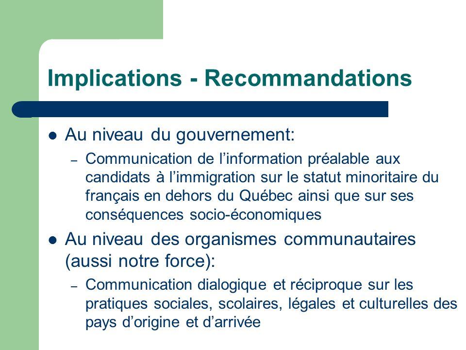 Implications - Recommandations Au niveau du gouvernement: – Communication de linformation préalable aux candidats à limmigration sur le statut minorit