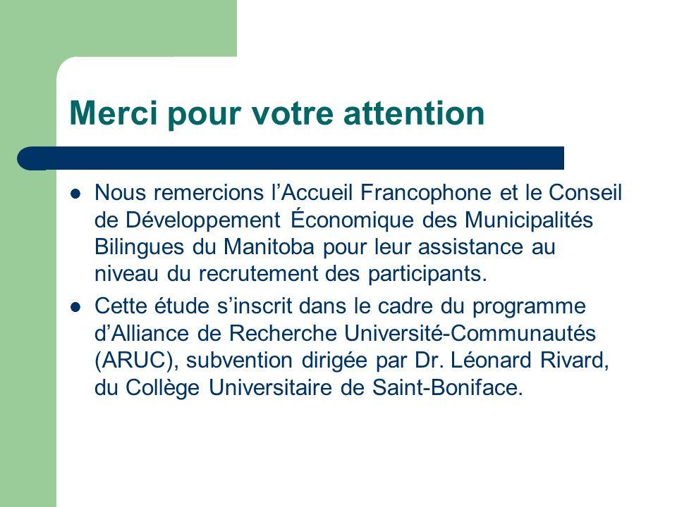 Merci pour votre attention Nous remercions lAccueil Francophone et le Conseil de Développement Économique des Municipalités Bilingues du Manitoba pour