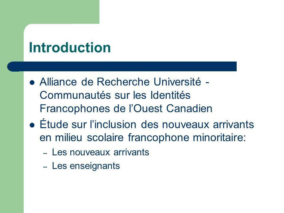 Introduction Alliance de Recherche Université - Communautés sur les Identités Francophones de lOuest Canadien Étude sur linclusion des nouveaux arriva