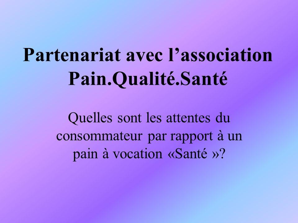 Partenariat avec lassociation Pain.Qualité.Santé Quelles sont les attentes du consommateur par rapport à un pain à vocation «Santé »?