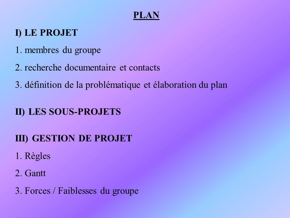 PLAN I) LE PROJET 1. membres du groupe 2. recherche documentaire et contacts 3. définition de la problématique et élaboration du plan II) LES SOUS-PRO