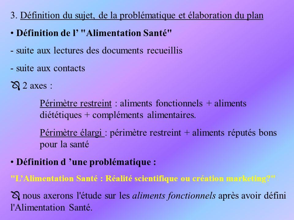 Elaboration d un plan: I) LAlimentation Santé 1.Définition 2.