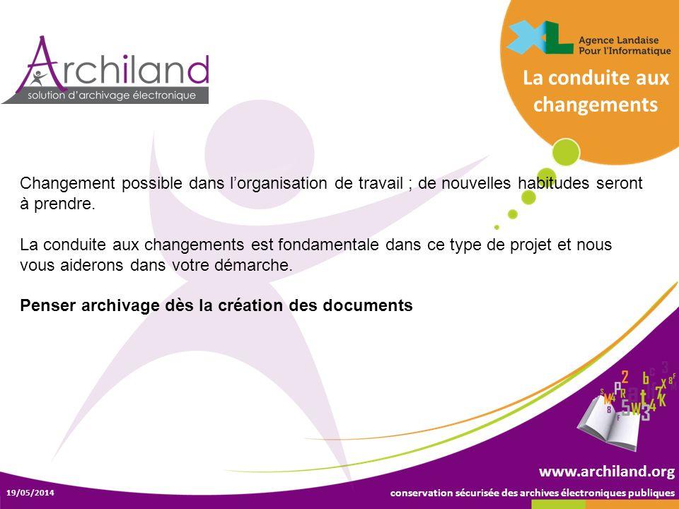 conservation sécurisée des archives électroniques publiques 19/05/2014 www.archiland.org Changement possible dans lorganisation de travail ; de nouvel