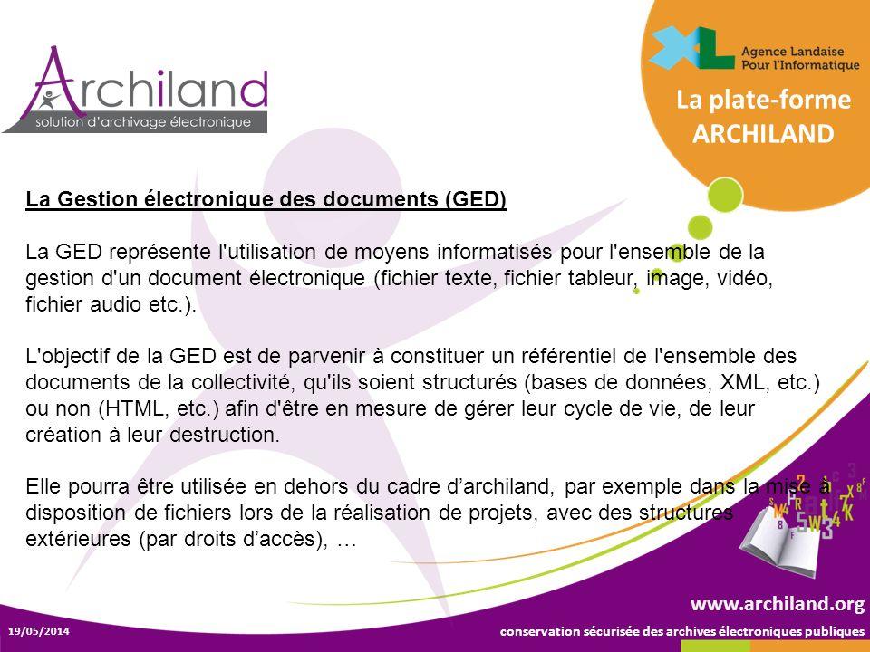 conservation sécurisée des archives électroniques publiques 19/05/2014 www.archiland.org La Gestion électronique des documents (GED) La GED représente