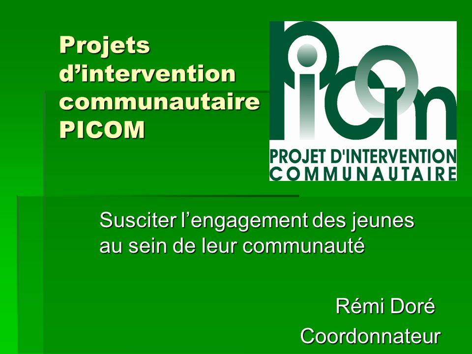Projets dintervention communautaire PICOM Susciter lengagement des jeunes au sein de leur communauté Rémi Doré Coordonnateur Coordonnateur