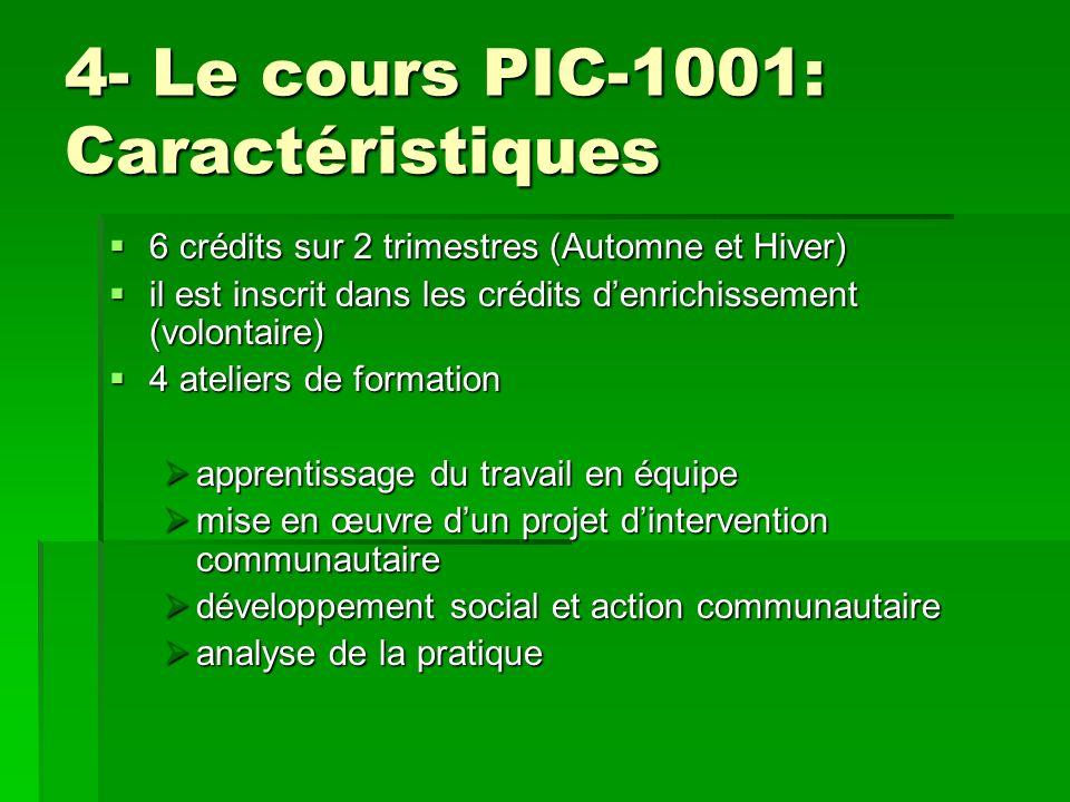 4- Le cours PIC-1001: Caractéristiques 6 crédits sur 2 trimestres (Automne et Hiver) 6 crédits sur 2 trimestres (Automne et Hiver) il est inscrit dans